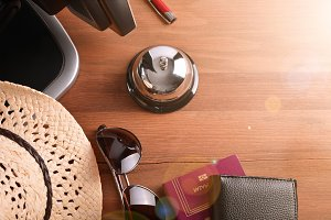 Objects on wood table of hotel