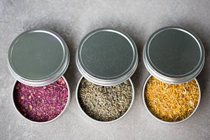 Ground Flower Petals & Buds in Tins