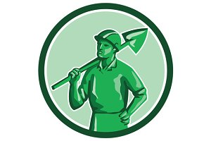 Green Miner Holding Shovel Circle