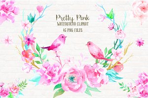 Watercolor Clip Art Pretty Pink