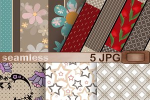 Set of Paper scrapbook brown tone 1