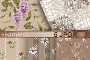 Set of Paper scrapbook brown tone 2