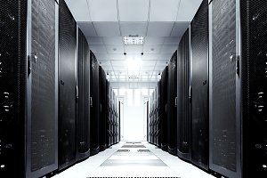 server room with modern equipment in the data center black and white