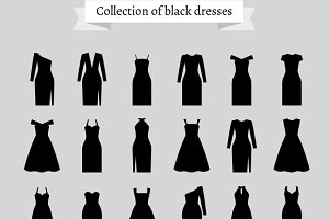 Black retro dresses silhouettes