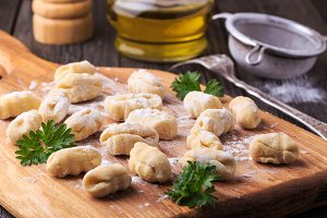 uncooked homemade potato gnocchi