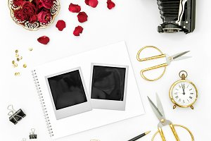 Flat lay polaroid photo frames