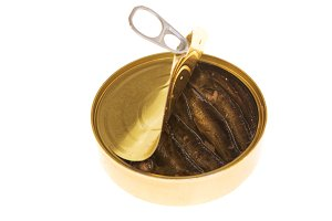 Open can of sprats on a isolated background