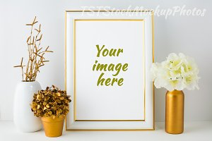 Frame Mockup gold and ivory style