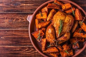 chicken with spices sweet potato