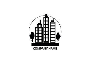 Building Logo Sign Design Flat