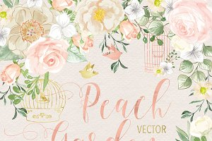 VECTOR Watercolor Rose Peach Garden