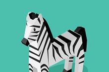 Isomeric Animal Zebra Isolated