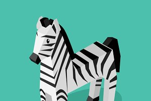 Isomeric Animal Zebra Isolated