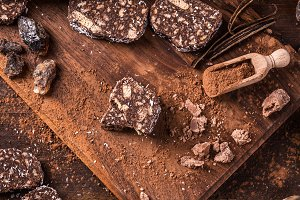 Chocolate salami slices