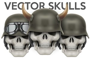 Set of Biker Skulls with helmets