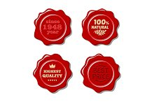 Set of isolated red wax stamp