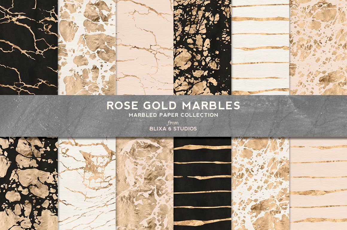 Rose Gold Marbles In Metallic Foil Graphic Patterns