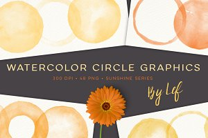 Sunny Watercolor Circles Graphics