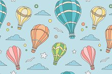 Seamless pattern of hot air balloons