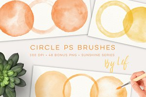 Watercolor Ps Brush Set blobs round