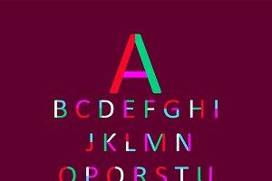 Color font flat style design