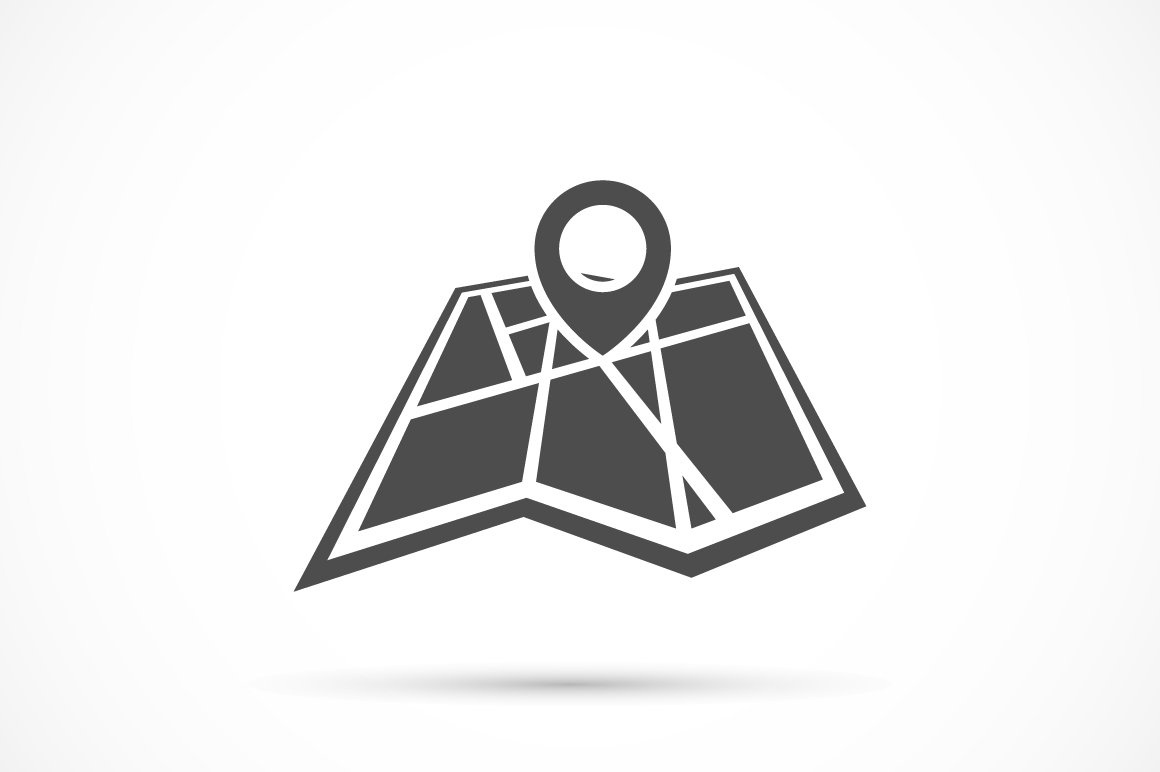 folded map with point icon icons creative market