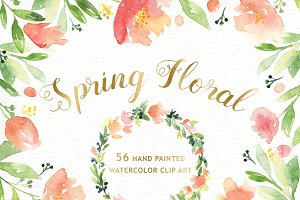 Spring Floral Watercolor Clipart