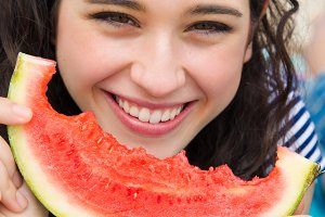 Beautiful smile with watermelon