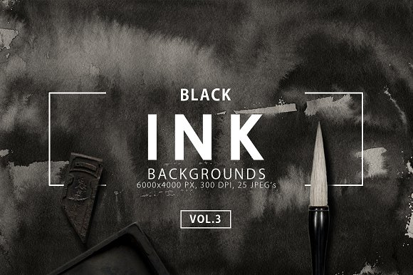 Black Ink Backgrounds Vol. 3 - Textures