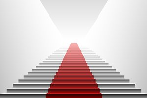 3d red carpet on white stair