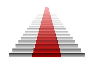 3d image of red carpet on stair