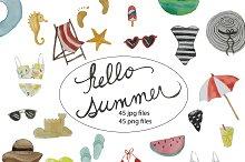 Hello Summer - watercolor