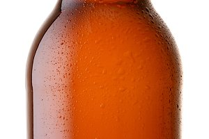 brown beer bottle isolated on white background