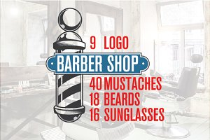 Barber Shop Labels and Logos+
