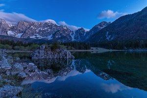 Stars reflection in lake Jasna