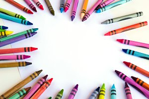 Crayons and pastels with copy space