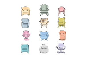 Armchair icon set