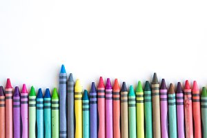Crayons and pastels lined up