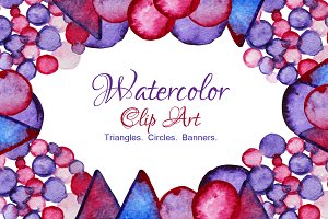Watercolor Triangles, Dots, Banners