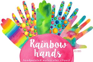 Rainbow Hands Watercolors