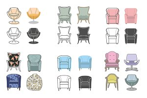 Colorfull and silhouette armchairs