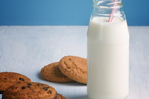 Chocolate chip cookies with a milk bottle