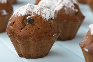 cupcake with raisins sprinkled with powdered sugar