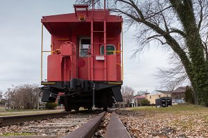 Old fashioned red caboose train