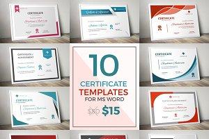 10 modern certificate docx bundle