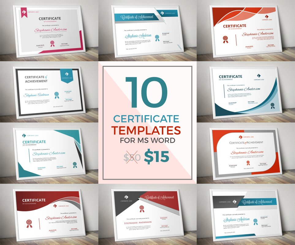 10 Modern Certificate Docx Bundle Stationery Templates Creative
