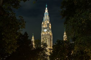 Night architecture in Vienna Austria