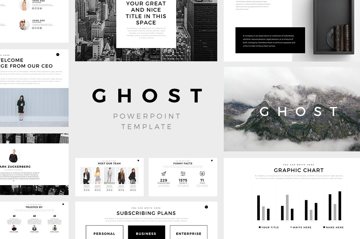 Ghost minimal powerpoint template presentation templates ghost minimal powerpoint template presentation templates creative market wajeb Choice Image