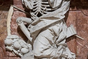 Skeleton statue in old German church