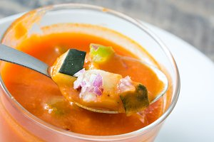 Gazpacho soup on a spoon